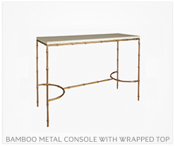 Fine Furniture Bamboo Metal Console with Wrapped Top