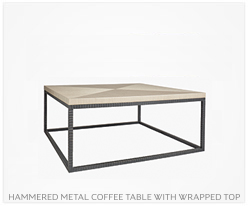 Fine Furniture Hammered Metal Coffee Table with Wrapped Top