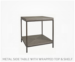 Fine Furniture Metal Side Table With Wrapped Top + Shelf
