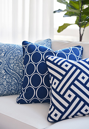 Navy & White Pillows from Calypso Collection