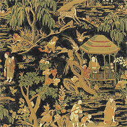 Fishing Village Black T5328 Collection Tea House From Thibaut