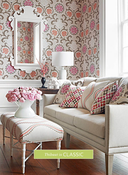Roomshot  item with SKU T64104 from Caravan collection is used. Designer Wallpaper  Fine Fabrics   High End Furniture   Thibaut